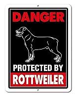 アメリカ雑貨 アメリカン雑貨 ブリキ看板 DANGER 猛犬注意 警告 メタル アルミ ティンサイン ジャーマン シェパード 見張り中 ロットワイラー 四角型 30cm×20cm 犬 動物 警告サイン シェパード インテリア 看板 壁掛け ショップ ガレージ (ロットワイラー)
