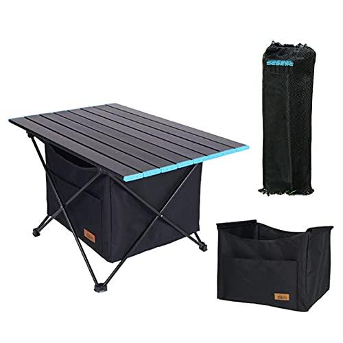 Mesa Plegable con Bolsa de Transporte y Malla de Almacenamiento, Mesa de Camping Portatiles Pequeña Ultraligero Mesa de Acampada Mesas de Picnic para al Aire Libre Playa Senderismo Pesca (Medium)