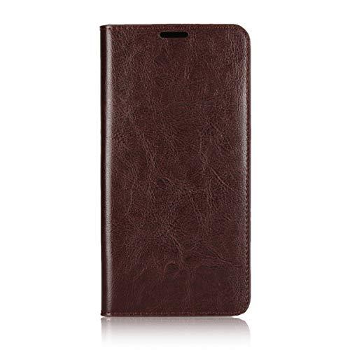 Sunrive Für Xiaomi Mi MAX 3, Echt-Ledertasche Schutzhülle Hülle Standfunktion Flip Lederhülle Hülle Handyhülle Schalen Kreditkarte Handy Tasche(braun)+Gratis Universal Eingabestift