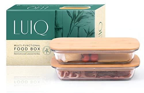 LUIQ 2er Set Aufschnittboxen aus Glas mit Bambusdeckel - FLACH, Gross, nachhaltig, stapelbar, luftdicht, hitze- und kältebeständig, BPA frei, als Auflaufform geeignet