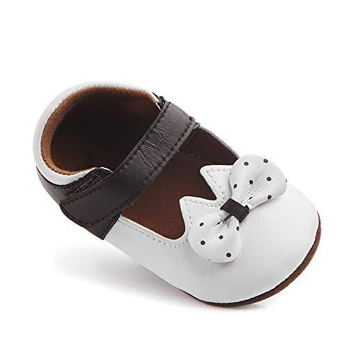 MK MATT KEELY Halkfri mjuk sula Baby flicka skor PU läder prinsessa rosett baby spjälsäng skor spädbarn flicka mockasiner första promenaden vit 3-6 månader