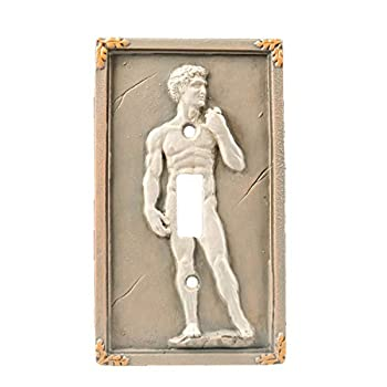 Bella Haus Design Michelangelo s David 3D Sculpted Light Switch Cover - Polyresin Single Toggle Wall Switch Plate Cover- Statue Of David Michelangelo Wall Home Art Decor