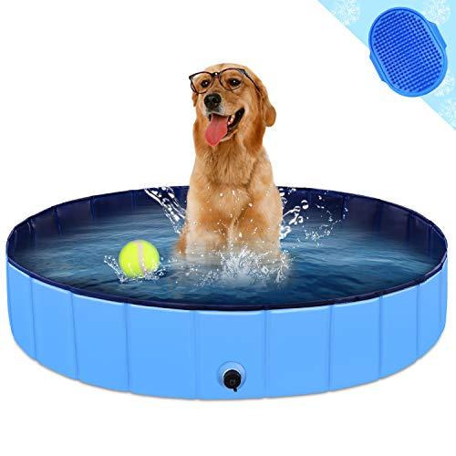 "KingBaas Hundepool Faltbarer Hund Planschbecken Kinder Schwimmbecken Tragbares Haustier Swimmingpool Kinderpool Hundebadewanne PVC rutschfest Großes Hund Katze Doggy Pool für Innen/draussen 32\""x 8\"""
