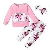 Conjunto de ropa floral de manga larga para niña de flores, pantalones y diadema, Bolsillo frontal, 6-9 Meses