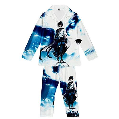 GAMESBD Pyjama-Set Naruto Uchiha Sasuke Anime Herren/Damen Langarm Unisex 3D Lässig Pyjama Bequem Weich Blau Weiß 3XL