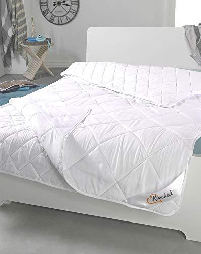 Trennbare Echte 4-Jahreszeiten Bettdecke Steppbett Stepp-Decke Ganz-Jahresdecke mit Druckknöpfen für Sommer und Winter Öko-Tex, Größe:155 x 220 cm