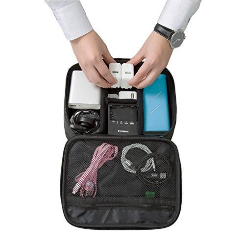 『(バッグスマート)BAGSMART PC周辺小物用収納ポーチ ベルクロ式仕切り iPad Mini2収納可 ブラック』の4枚目の画像