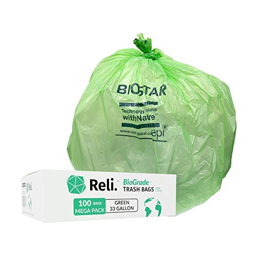 Reli. Biodegradable 33 Gallon Trash Bags (100 Count Bulk) Green Eco Friendly Garbage Bags 30 Gallon, 33 Gallon, 35 Gal Capacity, OXO-Biodegradable Under Certain Conditions (See Product Description)