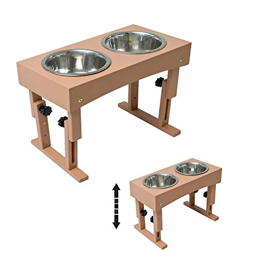 """MEWANG Wooden Adjustable Elevated Dog Bowls - Pet Feeder Raised Stand for Dogs and Cats - Raised Pet Bowls with 2 Stainless Steel Food and Water Bowls - Adjusts to 4 Heights, 2.75"""", 8', 10',& 12''"""