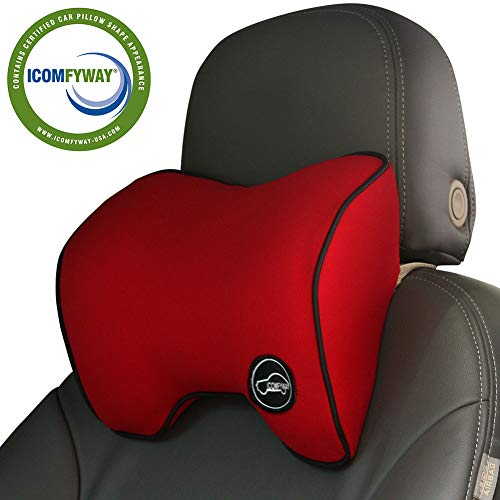 ICOMFYWAY Car Neck Support Pillow for Driving, Car Seat Headrest Pillow with Soft Memory Foam (Red)