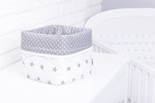 Amilian® Aufbewahrungsbox Körbchen ca. 20 x 20 x 20 cm Stoffbox Organizer Windelspender Korb Sternchen weiß (A3)
