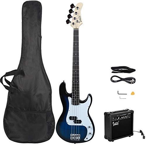 GLARRY Full Size Electric Bass Guitar Beginner Kit 4 String Exquisite Basswood Bass with 20W AMP, Cable, Strap, Bag and Accessories (Dark blue)