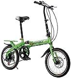 16 bicicletas plegables con marco de aluminio ligero, 6 velocidades, bicicleta de ciudad plegable, bicicleta urbana, con soporte trasero plegable en 10 segundos.