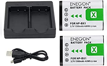 NP-BX1 ENEGON Battery (2-Pack) and Rapid Dual Charger for Sony NP-BX1 and Sony Cyber-Shot DSC-RX100, DSC-RX100 II/III/M4/M5/M6/M7/Ⅳ/Ⅴ/Ⅵ/Ⅶ/VA, DSC-RX100M II, HDR-CX405