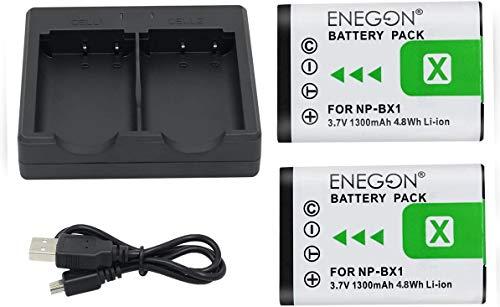 NP-BX1 ENEGON Batería de Repuesto (Paquete de 2) Cargador rápido para Sony NP-BX1 y Sony Cyber-Shot DSC-RX100, RX100 II, DSC-RX100M II RX100 M4/M5/M6/M7/Ⅳ/Ⅴ/Ⅵ/Ⅶ/VA