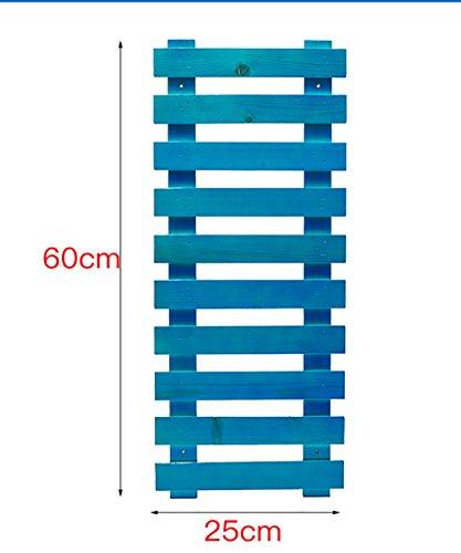 LIANLIAN Etagère De Fleur Plante Plante Mur Suspendu Pot À Fleurs Tablette Salon Balcon Bois Massif Plateau À Fleurs Echelle à fleurs (Couleur : Bleu, taille : 60 cm)