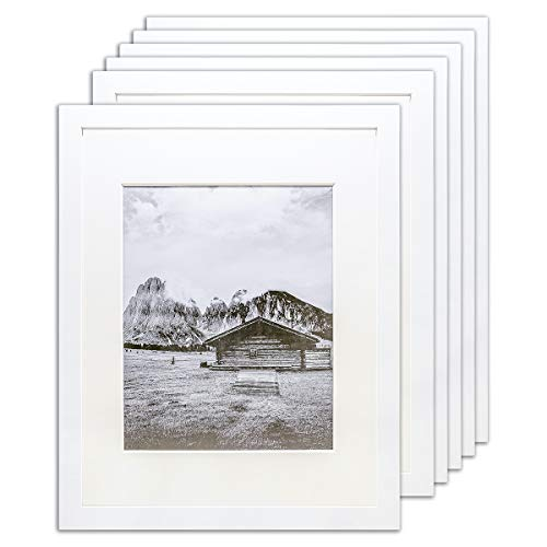 The Display Guys – Square Profile Picture Frame – Square Picture Frame - 8' x 10' Wooden Picture Frame - 6 Pack - White