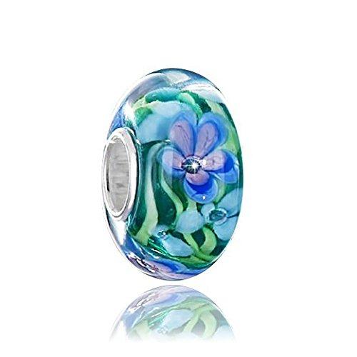 MATERIA Muranoglas Beads Anhänger Blume GERANIE blau grün für European Beads Armband oder Kette #1485