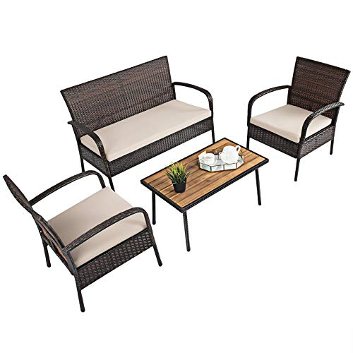 Tangkula 4 PCS Patio Rattan Furniture Set, Outdoor Conversation Set w/Cushions & Acacia Wood Coffee Tabletop, Sectional Sofa Set for Garden, Backyard, Poolside (1, Brown)