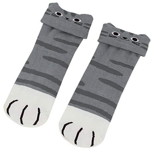 VIcoo 1 para vrouwen Lente lange sokken kleine kat oor cartoon dier mooie grappige katoen - grijs