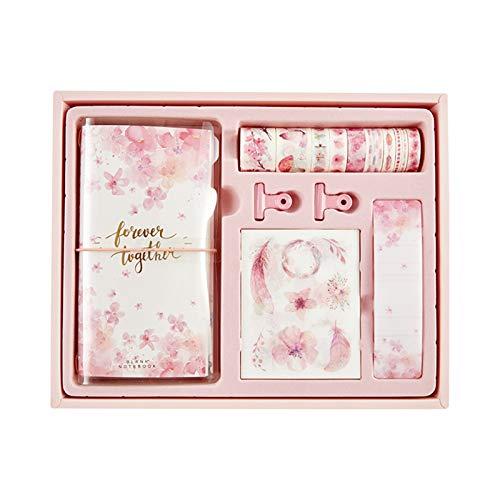FDSJKD Diario Viajero portátil Manual Conjunto de Regalo Diario Personal DIY DIY con Cinta washi Clips de Papel Caja de Regalo para Notas bocetos reflexionajes (Color : B)