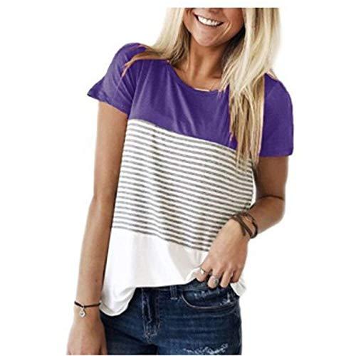 Adsikoojf dames korte mouwen, drielaags, kleur blokstrepen, patchwrok, oversized, casual T-shirt, voor dames, meisjes, vrijetijdskleding, groot