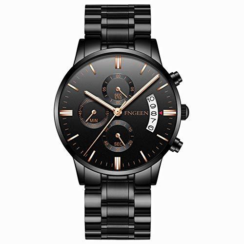 TZX Herrenuhren, Art und Edelstahlband-Uhren, Quarz wasserdichte Sportuhren, Unternehmen, die Atmosphäre Uhren - Schwarz