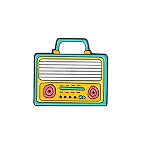 Cartone animato portatile Registratore Smalto Pin Pulsante Griglia Verticale Audio Broadcasting TV Zaino Panno Distintivo Gioielli Spilla Bavero Regalo