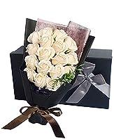 Capiner 笑顔にできるプレゼント ソープフラワー 薔薇 花束 記念日 バラ ギフト 造花 贈り物 お祝い 誕生日 結婚 還暦 母の日 父の日 メッセージカード ショップバッグ付(18本) (シャンパンホワイト)