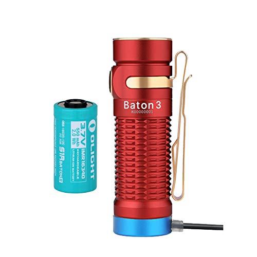 OLIGHT Baton3 LED懐中電灯 フラッシュライトハンディライト1200ルーメン 充電式 IPX8防水 防災 キャンプ 屋内 アウトドア 登山 作業