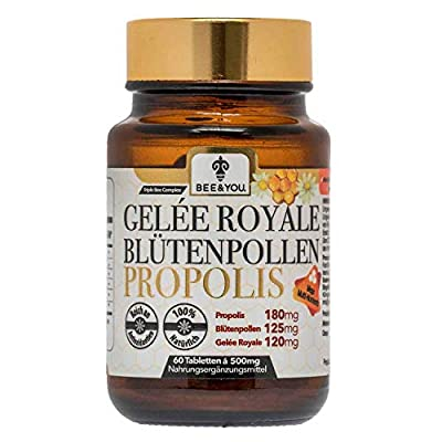 Royal Jelly Bee Pollen Propolis Tablets - Ultra Strength - 500 mg x 60 Tablets (Natural-Controlled Ingredients, Fair Trade, No Additives)