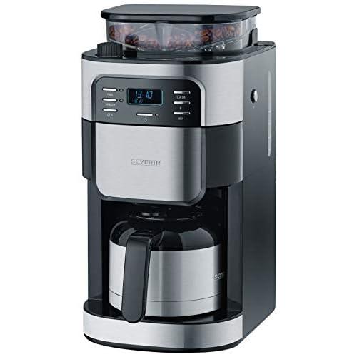 Severin KA 4812 Libera installazione Automatica Macchina da caffè con filtro 8tazze Nero, Acciaio inossidabile macchina per caffè