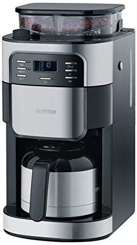 SEVERIN KA 4812 Kaffeeautomat mit Mahlwerk und Thermokanne (Für Kaffeebohnen und Filterkaffee, Timerfunktion, Automatische Abschaltung, bis zu 8 Tassen) edelstahl/schwarz