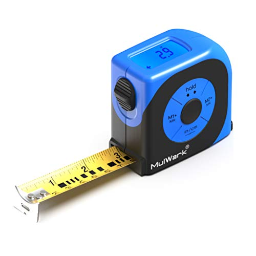 MulWark 16ft Digital Tape Measure, Large LCD Digital Display with Backlight, Feet/Inch/Metric Unit Conversion, Centerline Calculation, Inside/Outside Measurement | Measuring Tape for Construction