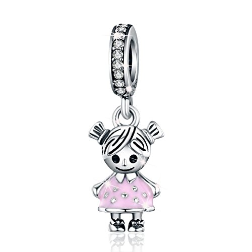 Ciondolo in argento sterling 925 a forma di coppia di bambini, famiglia, per braccialetti e collane, gioielleria elegante Da bambina.