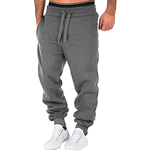 serliy Herren Jogginghose Trainingshose Sporthose Sweathose Fitnesshose Freizeithose Lang mit Reissverschluss Taschen und Kordelzug