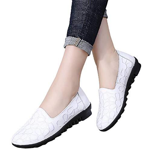 XLanY Zapatillas de Zapatillas de Zapatillas de Ballet de Punta Redonda, Zapatos de Vestido de Ballet Floral para Mujer, Caminar Casual Mocasines de Lustre,Blanco,40
