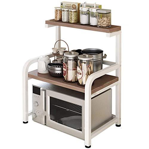 JUNYYANG Rack rack de cocina de microondas horno de carro for suelos con varias capas-Condimento de almacenamiento en rack rack de almacenamiento Arrocera (Color: blanco, tamaño: 54 * 42.5 * los 71CM)