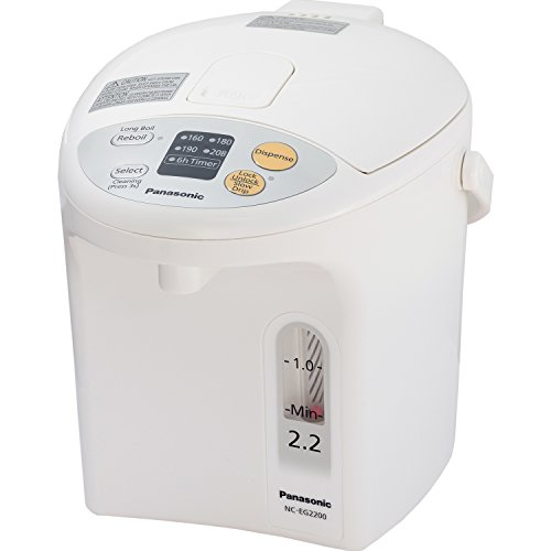 Panasonic B01CEK4N9M Electric Thermo Pot Water Boiler Dispenser NC-EG2200, Slow-Drip Mode for Coffee, Ideal Tea, for Hot Cocoa, Soups and Baby Food, Four TEM, 2.3 quarts, White
