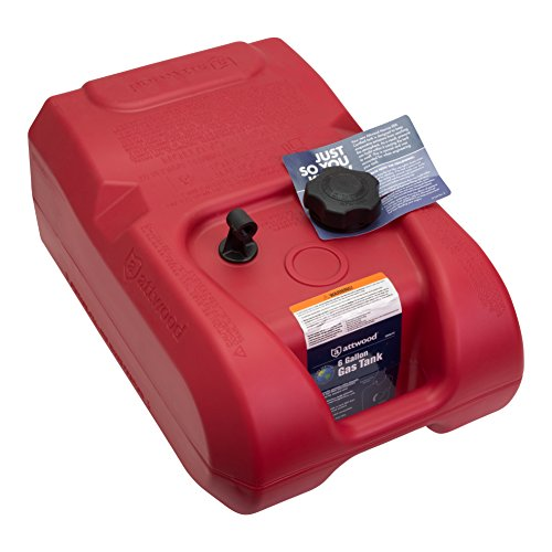 Attwood 8806LP2 EPA and CARB Certified 6-Gallon Portable Marine Boat Fuel Tank Red