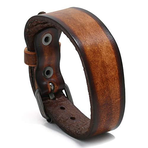 Pulsera para hombre de diseño simple, pulsera de cuero negro para mujer, pulseras y brazaletes elegantes y anchos (color metálico: marrón)
