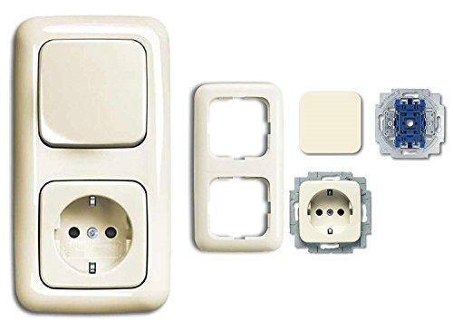 Busch Jäger tianya interruttore come semplice interruttore wipp qfix (2020 Stati Uniti) + presa con protezione per bambini - Con 2 PLACCA genieforce - Bianco - Panna - pronta da incasso - Duro 2000 SI