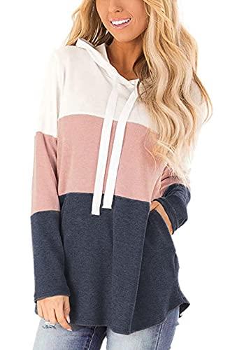 Vancavoo Sudadera Mujer Sudaderas Deporte Mujer Suéter Camiseta Mujer Manga Larga con Capucha Bloque de Color a Rayas Casual Ropa Tops Sweatshirt Chaqueta Invierno (Rosado,M)