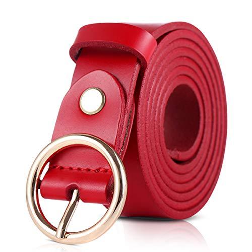 DORRISO Mujer Cinturón de Piel Vacuno Para Mujeres Con la hebilla del Pin de la Aleación Ocio Viajar Cinturón 105CM 110CM 115CM Rojo