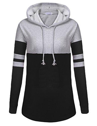 Tobrief Womens Striped Colorblock Long Sleeve Hooded Sweatshirt Pullover