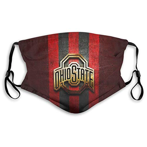 Ohio State Buckeyes_Mask Face Guard Dust Pattern Reusable Washable Breathable Outdoor Iron with 2 Filter for Men/Women