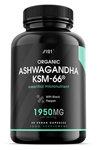 Organic Ashwagandha KSM-66 Capsules - Made with BioPerine for Higher Bioavailability - Gluten Free, Non-GMO - 90 Vegan Caps