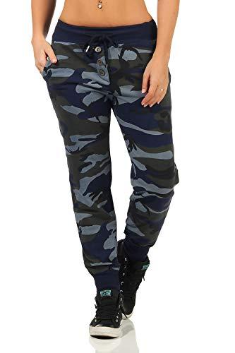 Danaest Pantalones deportivos de camuflaje para mujer (359) azul marino S