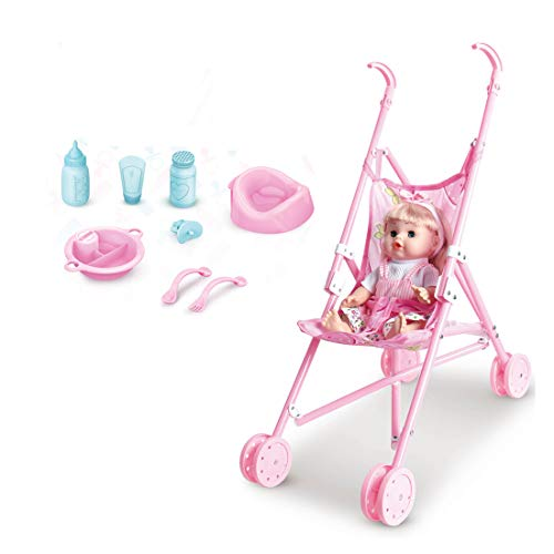 Fitprobo Baby Dolls Pram Buggy Foldable Play Toy Pink Great Gift For Gift For Girls & Boys Aged 3+