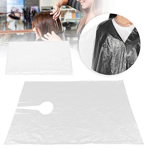 VAINECHAY Capa de peluquería desechable, capa de corte de pelo, transparente, impermeable, delantal de peluquería para adultos y niños, 90 x 120 cm (50 unidades), transparente